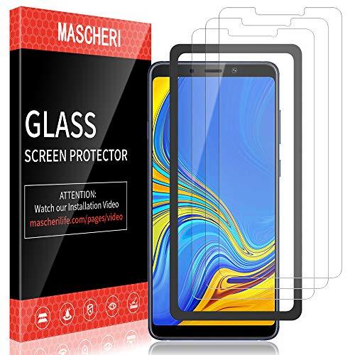 MASCHERI Schutzfolie für Samsung Galaxy A9 2018 Panzerglas, [3 Pack] [Ausgestattet mit einem Einbaurahmen] Bildschirmschutzfolie Panzerfolie Bildschirmschutz Panzerglasfolie Glas Folie