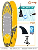 ZRAY SUP X-Rider 13' - Stand Up Paddle Gonflable - Paddle Gonflable - Charge Max 220 Kg - 396 x 91 x 15 cm - Dropstitch Simple Couche - Jaune