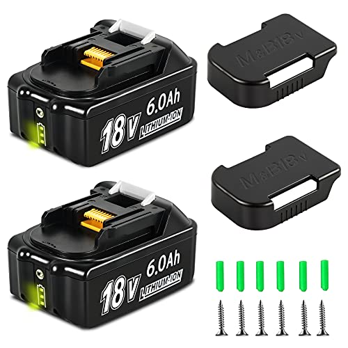 2 Pack 6.0Ah BL1860B Battery with Battery Holder, Compatible with Makita 18V Battery LXT Lithium BL1860 BL1850 BL1850B BL1840 BL1840B BL1830 BL1830B BL1815B LXT400 18-Volt Power Tools Batteries