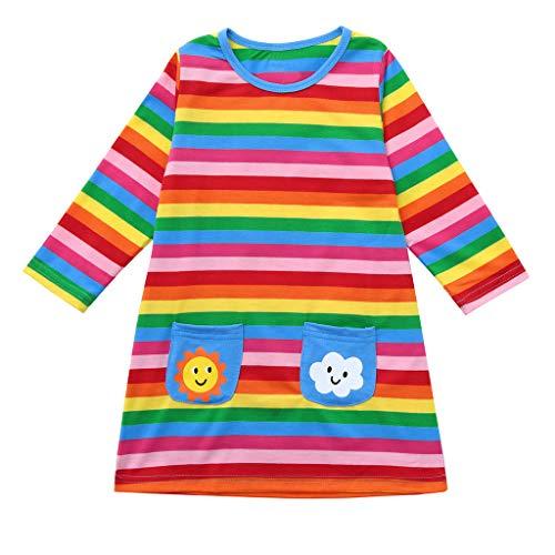 Kobay Babykleidung Mädchen Weihnachten Langarm-Cartoon-Regenbogen-gestreifter Kleidungs-Kleid(2-3T,Mehrfarbig)