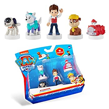 PAW Patrol Blister 5-Pack Figures with Stampers – Mess-Free Paw Patrol Birthday Cake Toopers Decorations Party Favors – Including Robo Dog and Everest – Mini Figurines Stand 2.5 to 3 in Tall