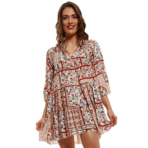 YC Fashion & Style Damen Tunika Kleid mit Patchwork Muster Boho Look Partykleid Freizeit Minikleid oder Strandkleid HP219 Made in Italy (One Size, Lachsrosa/Mehrfarbig)