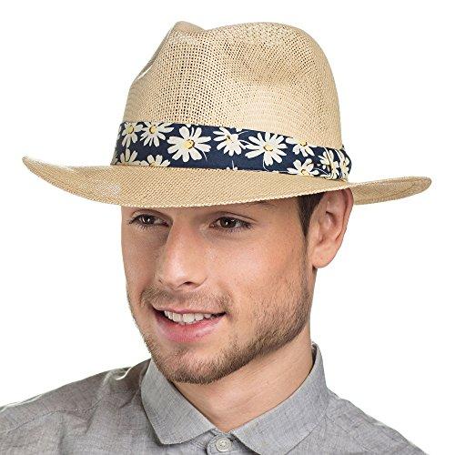I-Smalls Chapeau Feutre Trilby Structuré avec Bande en Toile Homme (58) Bleu
