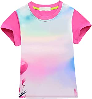 C_EDITION1 Girls T-Shirt Short Sleeve Cute Princess Casual Tee Top for 3-10 Years