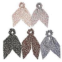 5PC Women Girls Bow Streamers Hair Ribbon Bands Floral Printed Ponytail Scarf Scrunchies Elastic Hair Ties Bohemian Hair Accessories