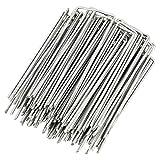 DAZISEN Piquetas Tienda de Campaña - Durable Estacas de Metal Galvanizado para Mirador y Estacas de Lona Alquitranada,Plateado(100 pcs),0.2cm*4cm*15cm