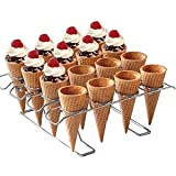 Newthinking Cupcake Cones Baking Rack, 16-Cavity Stainless Steel Ice Cream Cone Stand Holder Foldable Cake Decorating Pastry Tray Waffle Cones Holder for Baking, Cooling, Display