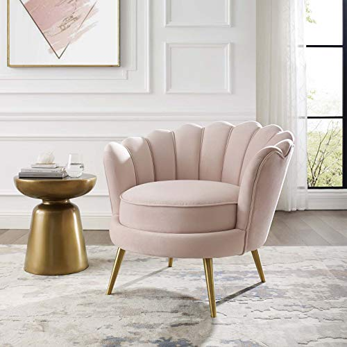 Modway Admire Scalloped Edge Performance Velvet Accent Lounge Arm Chair in Pink