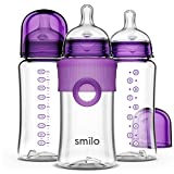 Smilo Baby Bottles, Plum, Smooth Flow Anti-Colic Feeding, 10 Ounce with Stage 0 Nipples (Pack of 3)