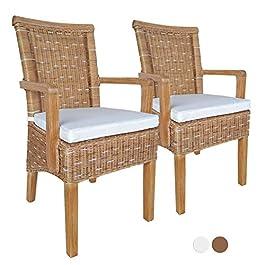 Lot de 2 chaises de salle à manger avec accoudoirs en rotin blanc ou marron Perth mit/sans coussin de siège Couleur…