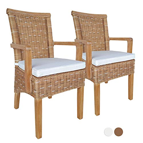 Esszimmer-Stühle-Set mit Armlehnen 2 Stück Rattanstuhl braun Perth mit/ohne Sitzkissen Leinen weiß Farbe mit Sitzkissen