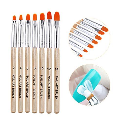 Nagel Pinsel Set, Nageldesign Stifte, Nageldesign Hilfsmittel,Nagelmodellage Nageldesign bürste für Nailart, UV-Gel, Acryl 7 X Pinsel und 1X Nagelhautschieber