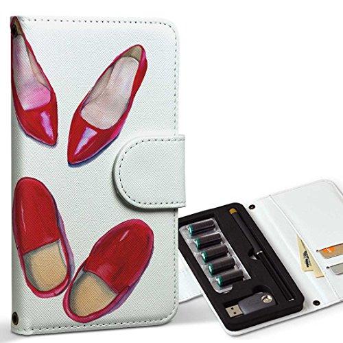 スマコレ ploom TECH プルームテック 専用 レザーケース 手帳型 タバコ ケース カバー 合皮 ケース カバー 収納 プルームケース デザイン 革 靴 スニーカー 赤 014766