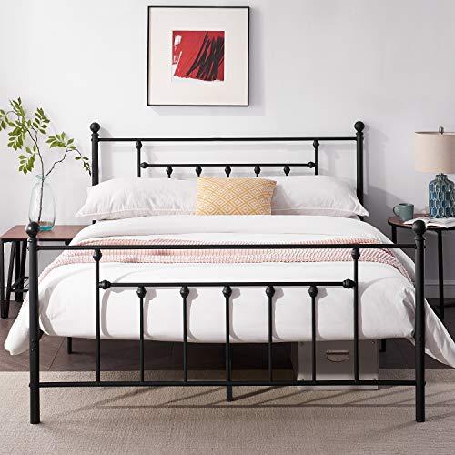 VECELO Doppelbett Metallbettgestell 140 x 200 cm mit Lattenrost Bettgestell mit große Lagerfläche für Schlafzimmer Gästezimmer Kinder Erwachsene schwarz