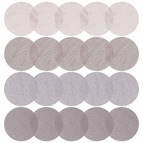 20 discos de lija de 5 pulgadas 80/150/240/400 surtidos de grano sin polvo, red abrasiva antibloqueo, malla de papel abrasivo para suelos de madera