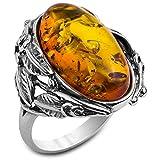 Noda anillo de plata con ámbar miel Óvalo Victoriano talla 14