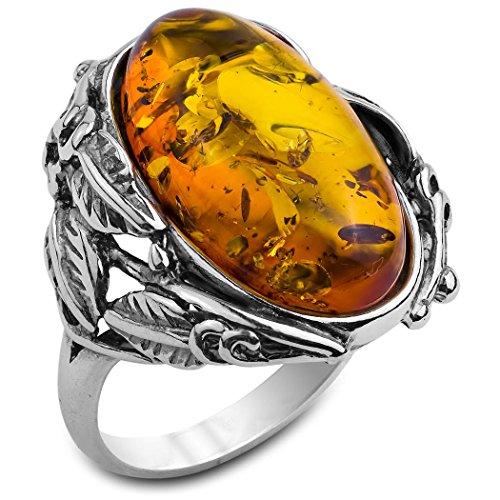 Noda anillo de plata con ámbar miel Óvalo Victoriano