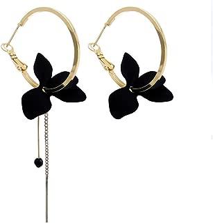 Big Circle Flower Dangle Earrings For Women Asymmetric Long Chain Strip Tassel Drop Earring Fashion Jewelry