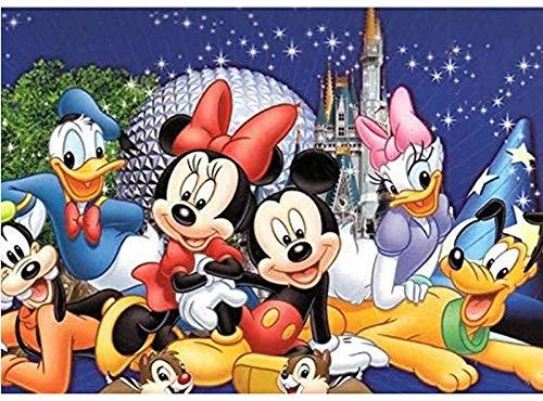 qfafz DIY 5D Diamante Pintura Número Kits Famaless Rhinestone Bordado Pinturas Cuadros para La Decoración del Hogar Mickey Mouse Clubhouse 40X50 Cm