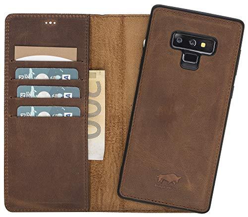 Solo Pelle Lederhülle Harvard kompatibel für das Samsung Galaxy Note 10 / Note 10 5G inklusive abnehmbare Hülle mit integrierten Kartenfächern (Vintage Braun)