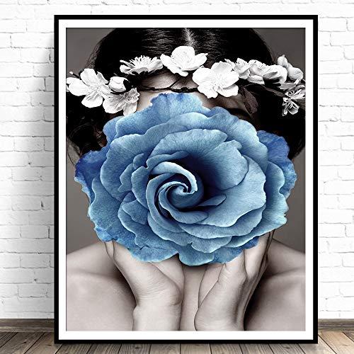 Cuadro de lienzo floral para mujer, cuadro de arte de pared Floral para decoración del hogar moderno, carteles e impresiones para decoración de sala de estar 40x50cm