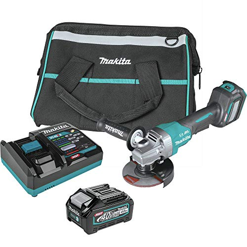 Makita GAG06M1 40V Max XGT Brushless Lithium-Ion 4-1/2 in./5 in. Cordless Paddle Switch Angle Grinder Kit with Electric Brake and AWS (4 Ah)