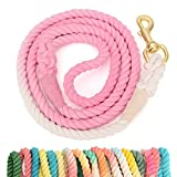 Samhogrin 5FT Dog Rope Leash Cotton Ombre Soft Handle Heavy Duty Training Lead Multicolor Traction Braided Rope for Medium Large Dogs Walking Running Camping
