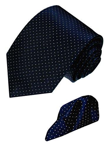 Lorenzo Cana - Marken 2 er Set aus 100% Seide - Krawatte mit Einstecktuch - Blau Weiss Punkte 8422901