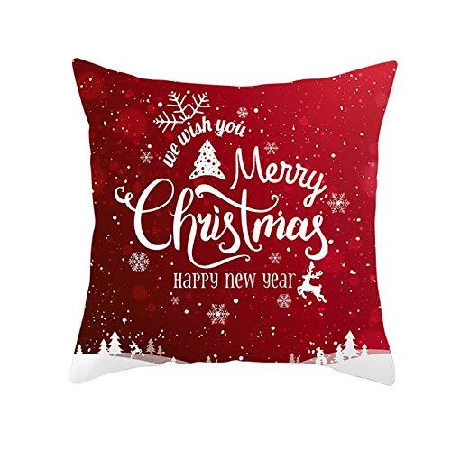 Homxi Funda Cojines Baratos 45x45,Funda Cojines de Poliéster Copos de Nieve and Árbol de Navidad We Wish You a Merry Christmas Happy New Year,Fundas para Cojines Decorativos de Navidad Rojo Blanco