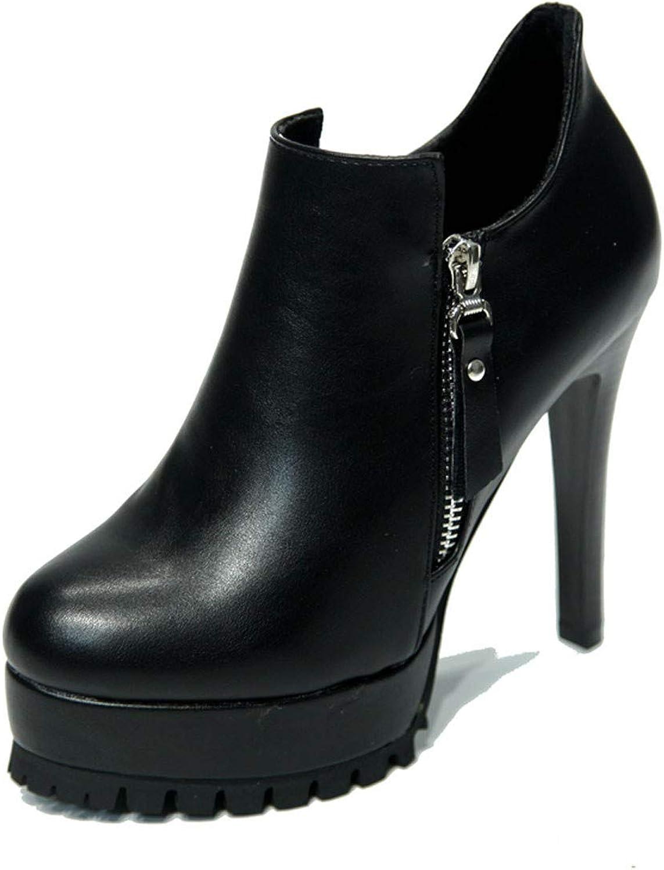 GTVERNH Woherrar skor Side Zipper Zipper Zipper kort stövlar Mode 11Cm Vattensäker Platform Super hög klack och Bare stövlar Ladies skor.  gratis frakt!