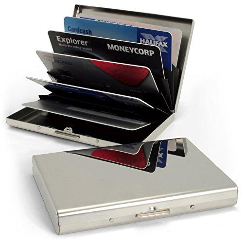 iGadgitz U5345 Ultra-Sottile RFID Blocking Porta Carte di Credito in Acciaio Biglietti da Visita Portafoglio Viaggi