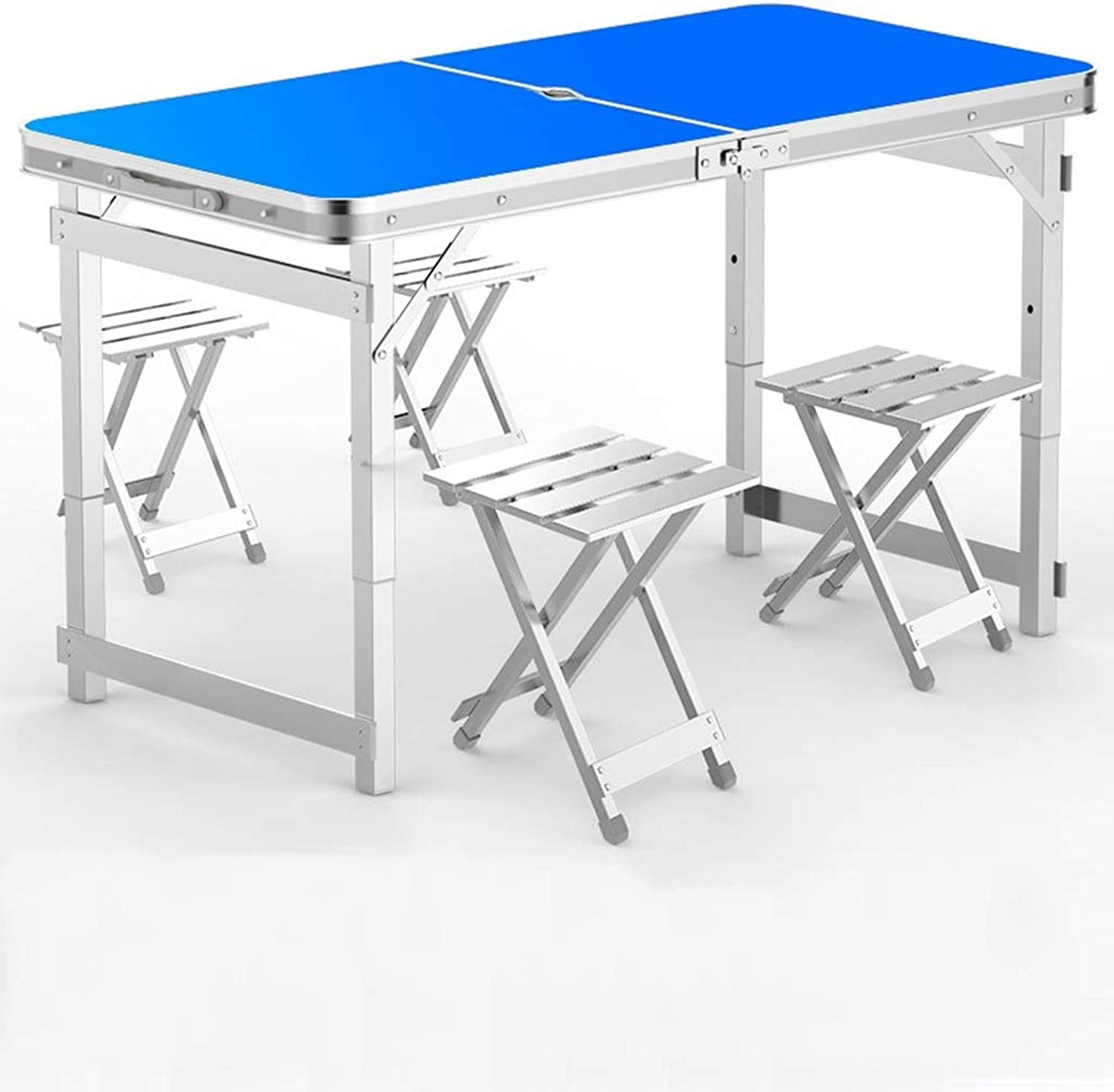 Folding Table, 4 Folding Picnic Table, 4 Aluminum Chairs, Portable Outdoor Picnic Garden Dining Camping Outdoors (Size   A)