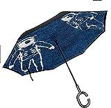 Dliuxf Decoración Astrología Paraguas invertido Antiguo Horóscopo de Praga para la Lluvia del Coche Uso al Aire Libre Paraguas Anti-UV a Prueba de Viento -K1506