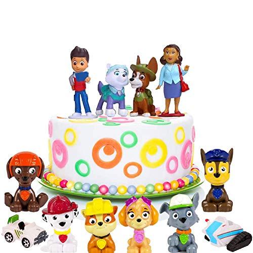 Mini Cake Topper, Patrol Cake Topper, Paw Patrol Set, Mini Juguetes Baby para Pasteles, Fiesta de Cumpleaños DIY Decoración Suministros de la Fiesta de Cumpleaños de los Niños(12 Piezas)