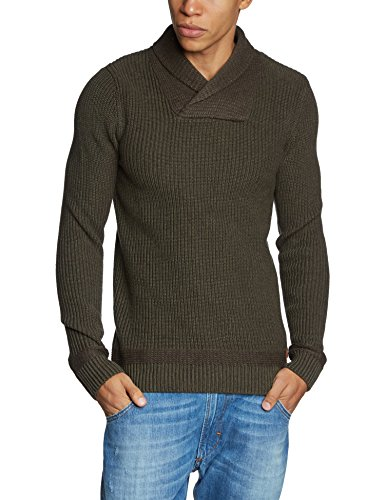 Jack & Jones Vintage Prescot Knit Shawl Neck 12080595 Pull, Vert (Olive Night 19-0515 TCX), Small (Taille Fabricant: S) Homme