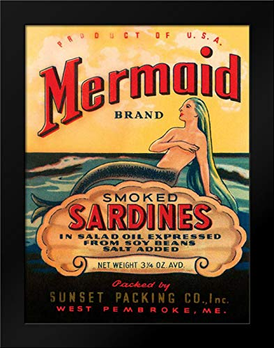 Unknown 19x24 Black Modern Framed Art Print Titled Mermaid Brand Smoked Sardines
