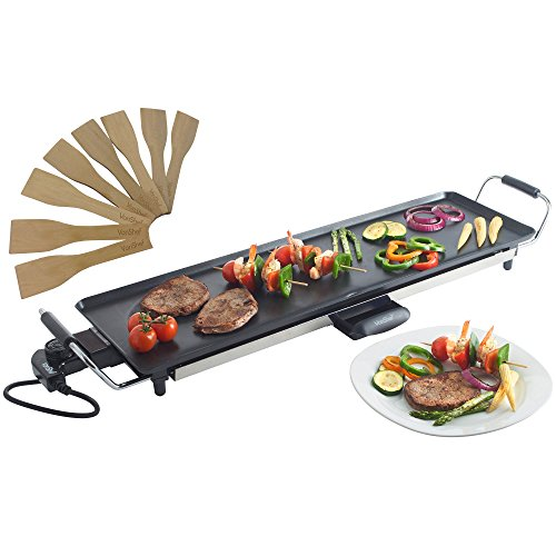 VonShef XL Teppanyaki Grill - Electric BBQ Table Top Grill with Adjustable Temperature Control and 8 Spatulas - 2000W