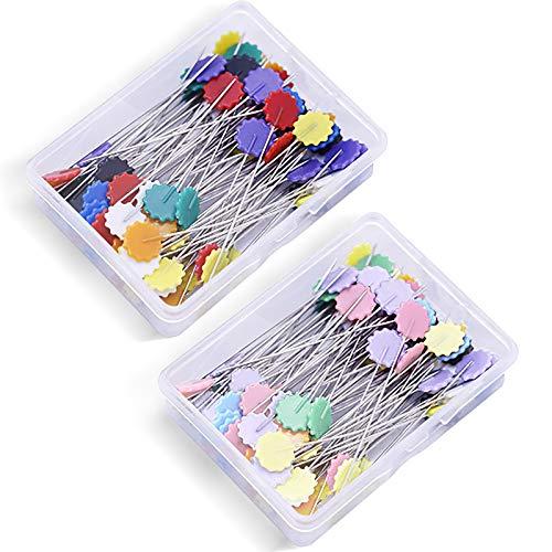 200 Piezas Agujas para tejer y coser, Alfileres de Costura Decorativos de Colores de Cabeza Plana con Caja de Almacenamiento para Manualidades y Proyectos de Costura (2 Cajas x 100pcs)