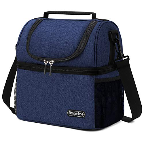 Insulated Lunch Bag for Men Women, Bagmine Adult Large Lunch Box for Meal Prep SBS Zipper & Leak-proof Inside Cooler Bag with 2 Spacious Compartment for For Work, School, Camping Navy blue