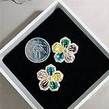 FEARRIN Pendientes de aro Flor Pendientes de botón de turmalina Multicolor Natural Pendientes de...
