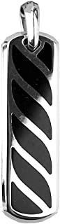 David YURMAN ST. Silver Ingot Graphic Cable Black Onyx Dog TAG Enhancer 91P