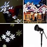 Locisne LED Moving Snowflake / Stars Spotlight Flood Lights Indoor / Outdoor Paysage Projecteur Party Lamp Holiday Christmas Tree Garden Patio Stade Maison Décoration IP44 (flocon blanc froid)