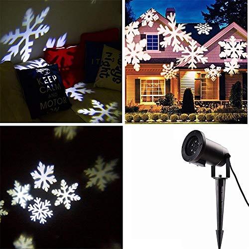 Locisne LED Moving fiocco di neve/stelle Riflettori luci di inondazione interni/esterni Paesaggio lampada del proiettore partito festa Natale Tree Garden Patio fase la decorazione della casa IP44