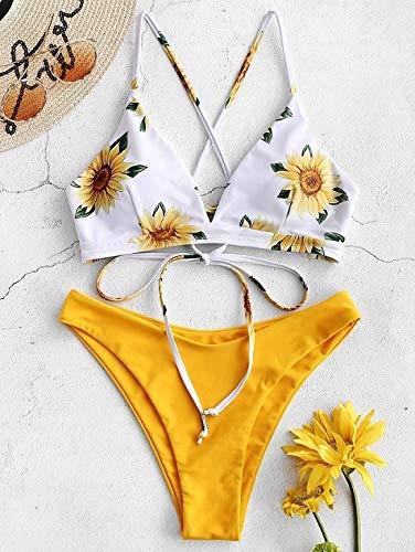 DEMXYA Girasol Impreso Bikini de baño Atractivo de Las Mujeres 2020 Mujer de Empuje for Arriba Rellenado Biquini bañistas Vendaje Traje de baño de baño Bikini bañador Push up Mujer