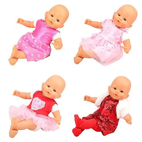 Miunana 4X Vestidos Verano Casual Ropas Fashion para 14- 16 Pulgadas (36-40cm) Muñeca bebé
