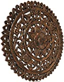 Medallion Tropical Bali Floral Wood Carved Wall Art Plaque. Round Lotus Flower Rustic Home Decor. 24' (Brown)