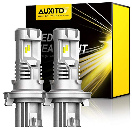 AUXITO 9008 H13 LED Headlight Bulbs 12000LM Per Set 6500K Xenon White Slim Wireless High Low Hi/Lo Dual Beam Headlight, Pack of 2