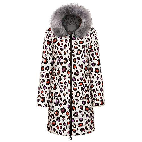 Makalon winterjas voor dames, elegant, grote maat, lang, van katoen, gewatteerd, voor dames/kleding van katoen, donsjas voor dames, winter, grote maat (grijs, C, XL)