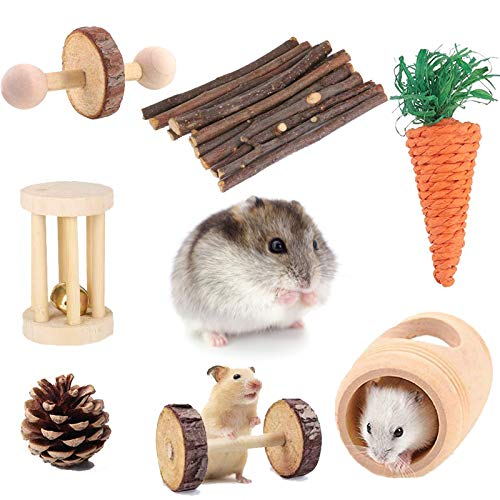 Suwikeke Hamster Chew Toys, 7 Pack Pet Bunny Tooth Chew Toys, Natural Wooden Guinea Pig Toys Accessories, Teeth Care Molar Toy for Rabbits Gerbils Rats...