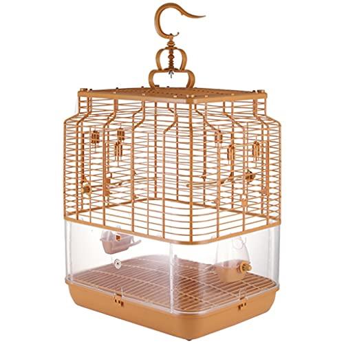 Jaula para Pájaros para Loros, Jaula Rectangular para Pájaros, Jaula para Pájaros, Adecuada para Pájaros Pequeños, Amor, Pinzón, Canario (Color : Bamboo Yellow, Size : 48 * 38 * 58cm)